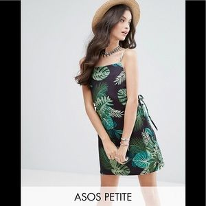 ASOS PETITE Scuba Mini Dress Eyelet Palm Print